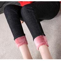 韩版冬季九分长裤高腰加绒加厚保暖弹力显瘦外穿小脚铅笔牛仔裤女