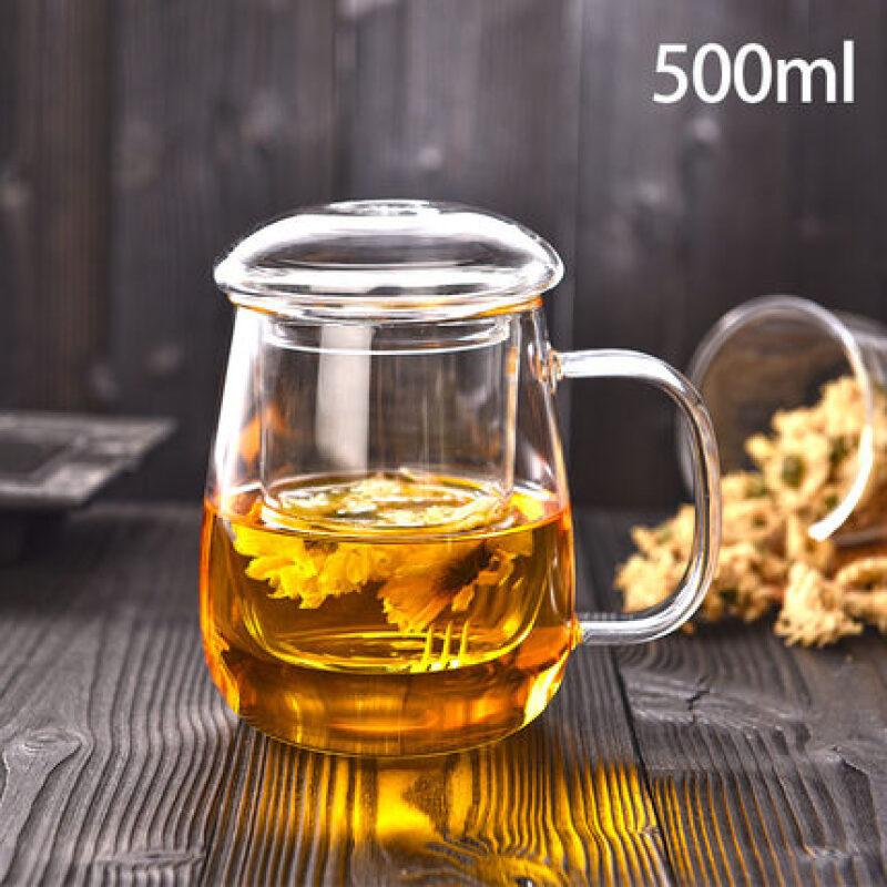 玻璃茶杯带把盖杯子家用玻璃水杯花茶杯泡茶杯过滤茶水分离泡茶杯 极速发货*赠送运费险*品质保障*购物无忧