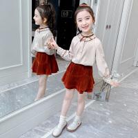儿童套裙淑女时髦装长袖裙子两件套春秋