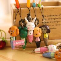 开学必备文具 韩国创意文具 木质动物手机链 带挂件笔 圆珠笔  可爱卡通 学生用品礼品 学生活动奖品