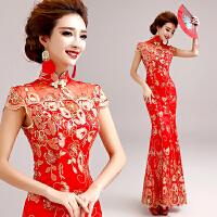 天使嫁衣红色蕾丝短袖新娘旗袍礼服长款婚礼敬酒服批发 红色