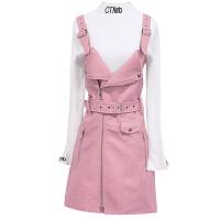 2018秋冬新款长袖毛衣背带皮裙子两件套小香风套装连衣裙女 粉色