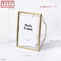 欧式金属相框摆台创意个性七寸架桌面ins现代简约几何玻璃6 7寸 青金色 7寸 几何金属 玻璃相框