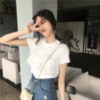 夏季韩版女装新款蕾丝拼接假两件上衣圆领短袖针织针织衫百搭T恤 均码