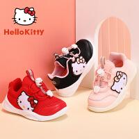 【3折�r:89.7元】HelloKitty�P蒂�童鞋女�����W面�W步鞋小童秋季新款�和��底鞋1-3�qK0533039