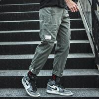 工装裤男宽松直筒多口袋裤子男韩版潮流港风嘻哈休闲裤