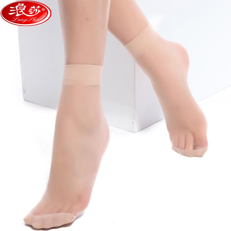 【5双装】浪莎丝袜短袜女超薄防勾丝女士黑色短丝袜夏季对对袜短筒水晶丝袜子 浪莎正品,低价促销