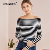 ONE MORE2018春装新款一字领针织衫女打底衫毛衣长袖套头线衫