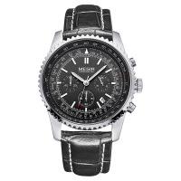 2018新款 美格尔手表 男士表多功能三眼男表皮带防水运动石英手表