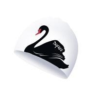 硅胶泳帽女长发护耳可爱天鹅印花游泳帽不勒头泳帽
