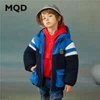 MQD童装男童棉衣大童长款2020冬装新款儿童加厚保暖连帽外套