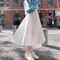 半身裙女夏中长款雪纺长裙白色蛋糕裙A字中式高腰网纱裙春秋裙子