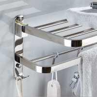 免打孔毛巾架浴室厕所置物架壁挂卫浴挂件卫生间304不锈钢浴巾架