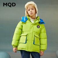 【折后券后�A估�r:125】MQD童�b男童�B帽棉衣2020冬�b新款大童工�b潮服�和�加厚保暖
