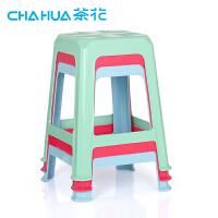 茶花塑料凳子方凳叠放钓鱼凳家用高凳成人凳批发0823