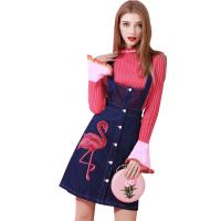 2018新款秋冬装牛仔背带连衣裙毛衣配裙子两件套时髦套装裙 蓝色