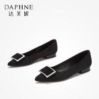 Daphne/达芙妮 2019秋款女优雅方扣浅口低跟单鞋摩登格纹钻扣通勤鞋