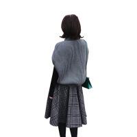 初秋新款季毛衣背心毛线裙子秋款气质两件套装女冬时尚潮秋冬 灰蓝毛衣+格子裙