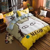 北欧简约炫酷全棉四件套纯棉床品套件床上用品4件套被套床笠床单定制 1.5米床 (床单款) 被套200*230