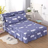 加棉床裙式床罩三件套夹棉席梦思床套1.5米1.8床头罩
