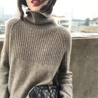 针织毛衣女高领2019秋冬新款宽松慵懒针织高领大码纯色打底毛衣