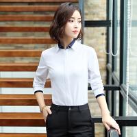 职业衬衫女长袖白色雪纺衫撞色拼接面试修身显瘦韩版工装正装衬衣