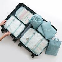纳彩旅行收纳袋套装行李箱衣服收纳整理袋旅游鞋子衣物内衣收纳包 NC 升级版七件套 湖蓝