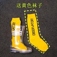 【好货】走秀透明儿童雨鞋男童小童幼儿宝宝雨靴女童防水胶鞋套鞋