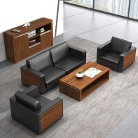 【品牌特惠】简约现代会客接待商务三人位公司办公沙发皮艺办公室沙发茶几组合