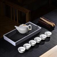 【新品】茶盘家用客厅功夫茶具一壶六杯石头长方形茶托套装迷你小茶台简约 10件