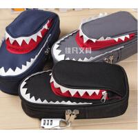 韩国笔袋 个性创意鲨鱼密码锁笔袋 大容量帆布笔袋铅笔盒