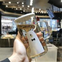 简约创意大容量玻璃杯可爱水杯子女情侣透明男马克杯带把盖勺吸管