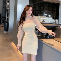 裙子女秋冬韩版新款修身百搭毛绒拼接蕾丝网纱长袖套头打底连衣裙