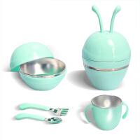 欧培宝宝餐具五件套装便携外出组合儿童保温碗婴儿碗勺套装辅食碗防摔