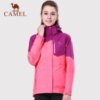 camel骆驼户外冲锋衣 女士新款透气防水三合一两件套冲锋衣