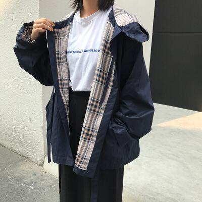 连帽风衣秋冬女新款韩版百搭港风宽松显瘦BF长袖开衫外套学生 均码  批量拍下不发货