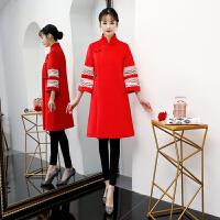 敬酒服新娘旗袍2018新款冬季短款红色结婚礼服加厚中式长袖显瘦女 红色