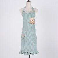 韩版时尚围裙防水防油美甲工作服厨房咖啡厅可爱公主做饭女