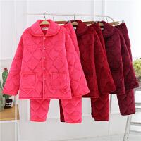 冬季夹棉睡衣女士套装全棉加厚保暖中年妈妈家居服大码秋冬天