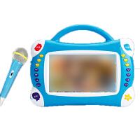 儿童卡拉ok机 麦克风话筒唱歌机玩具 早教机 宝宝故事机 触摸点读游戏 蓝色+8G+礼包