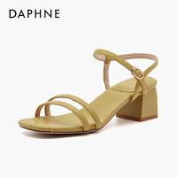 达芙妮一字带粗跟凉鞋女仙女风2020年夏新款高跟露趾罗马鞋百搭潮