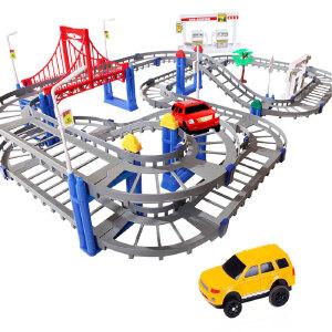 橙爱立昕 轨道火车梦幻轨道汽车电动车 双轨道车 儿童玩具火车玩具小火车套装电动玩具益智玩具