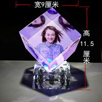 水晶魔方影像diy个性创意360度旋转摆件生日婚礼品相框照片定制情人节礼物