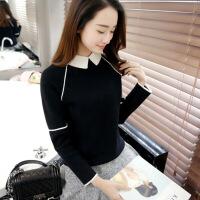 娃娃领针织衫上衣女秋冬季2017新款韩版百搭学生修身短款打底毛衣