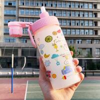 吸管水杯女玻璃杯学生创意可爱便携刻度韩版个性潮流磨砂网红杯子生日礼物