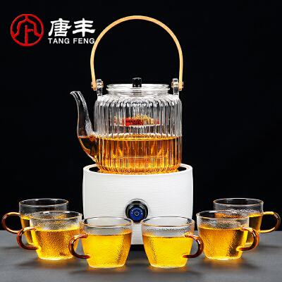 唐丰玻璃煮茶器耐热玻璃壶家用提梁煮茶壶单色电陶炉圆形茶炉蒸茶 锤纹壶身,竹制提梁