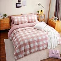 格子四件套全棉纯棉床单三件套床上用品简约被套1.5m学生宿舍单人