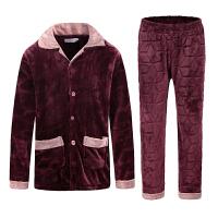 睡衣男士加厚法兰绒长袖秋冬季珊瑚绒套装家居服枣红加肥加大码