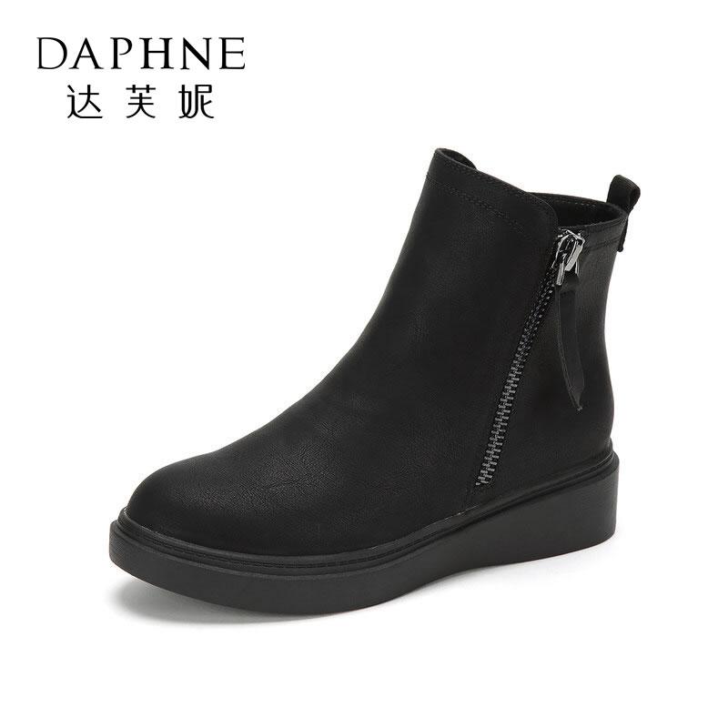 Daphne/达芙妮旗下PINKII简约侧拉链低筒靴女靴