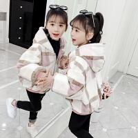 韩版加厚双面穿时尚毛毛连帽夹克衫2019秋冬季新款女童外套